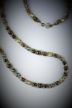 """""""Midnight and the Grape"""" Beaded French Knit Rope Necklace"""