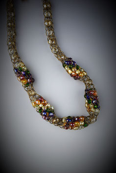 """Shades of the Rainbow"" Beaded Alternating French Knit Style Short Rope Necklace"