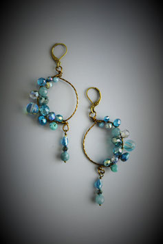 """Shades of Turquoise"" Beade Circle with Drop Earring"