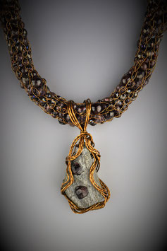 """Natural Garnet Pendant on a """"Shades of Garnet"""" Beaded French Knit Necklace"""
