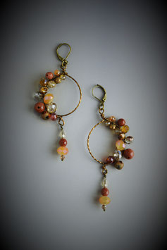 """Shades of Autumn"" Beaded Circle with Drop Earring"