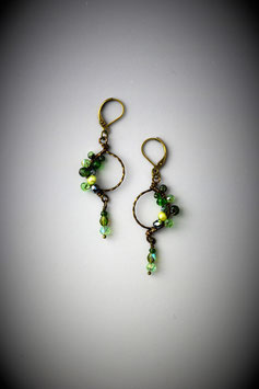 "Petite ""Shades of Emerald and Peridot"" Beaded Circle with Drop Earring"