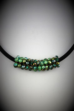 """""""Shades of Emerald"""" Beaded French Knit Slide on a Silk Threaded Cord"""