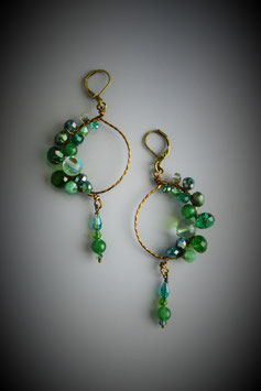 """Shades of Emerald"" Beaded Circle with Drop Earring"