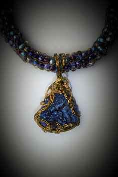 """Shades of Sapphire"" Druzy Pendant on a Beaded French Knit Necklace"