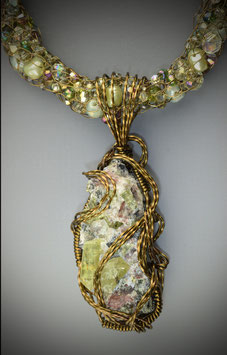 "Yellow Green Natural Apatite Crystals in Matrix on a ""Shades of Apatite"" Beaded French Knit Necklace"