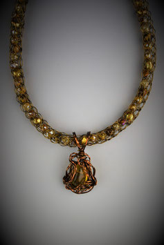 Amber Pendant on a Beaded French Knit Necklace