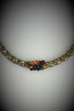 """Shades of the Rainbow"" Beaded Single Cluster French Knit Style Short Rope Necklace"