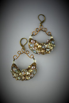 """Shades of Pastel"" Beaded French Knit Earrings"