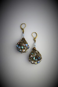 """Shades of Blue Green Druzy"" Beaded French Knit Teardrop Earrings"