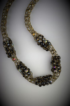 """Shades of Midnight"" Beaded Alternating French Knit Style Short Rope Necklace"