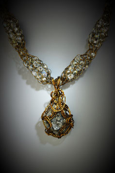 "Herkimer ""Diamond"" Pendant on a Beaded Alternating French Knit Necklace"