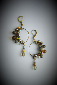 """Shades of Brown"" Beaded Circle with Drop Earring"
