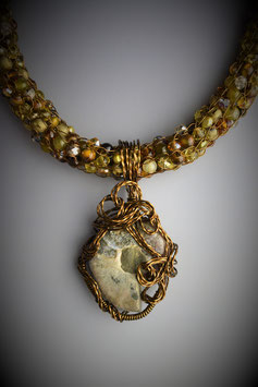 Ammonite Fossil Pendant on a Beaded French Knit Necklace
