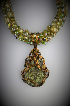 "Natural Peridot Crystal Cluster Pendant on a ""Shades of Peridot"" Beaded French Knit Necklace"