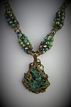 Fibrous Malachite Pendant on a Beaded French Knit Necklace