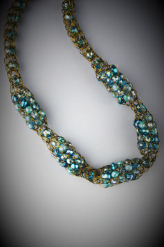 """Shades of Turquoise"" Beaded Alternating French Knit Style Short Rope Necklace"