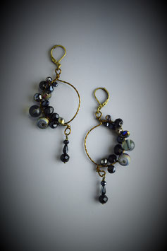 """Shades of Black"" Beaded Circle with Drop Earring"