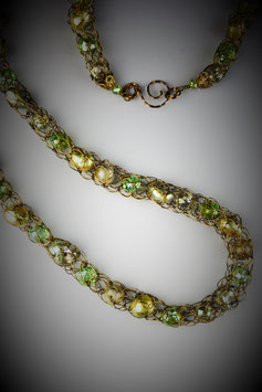 """""""Shades of Peridot"""" Beaded French Knit Rope Necklace"""