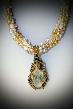 Natural Ethiopian Opal in Matrix  Pendant on a Beaded French Knit Necklace