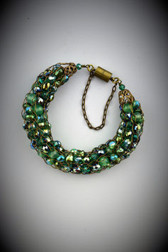 "Opulent ""Shades of Emerald"" Beaded French Knit Bracelet"