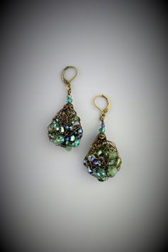"""Shades of Fibrous Malachite"" Beaded French Knit Teardrop Earrings"