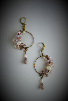 """Shades of Pink Sapphire"" Beaded Circle with Drop Earring"