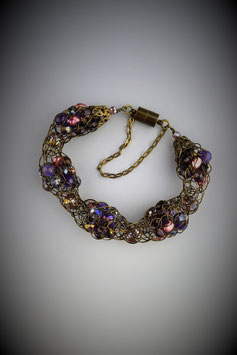"""Shades of Deep Amethyst"" Alternating Beaded French Knit Bracelet"