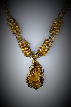 """Amber Pendant on a """"Shades of Amber"""" Alternating Beaded French Knit Necklace"""