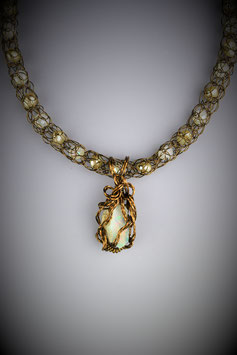 Ethiopian Opal Pendant on a Beaded French Knit Necklace