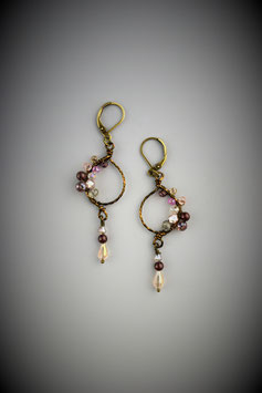 "Petite ""Shades of Pink"" Beaded Circle with Drop Earring"