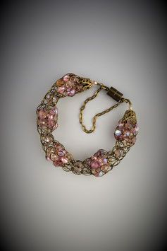 """Shades of Pink"" Alternating Beaded French Knit Bracelet"