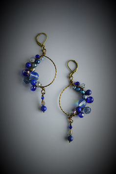 """Shades of Sapphire Blue"" Beaded Circle with Drop Earring"