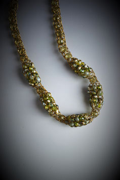 """Shades Of Peridot"" Beaded Alternating French Knit Short Rope Necklace"