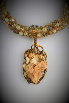 Aragonite and Calcite Pendant on a Beaded French Knit Necklace