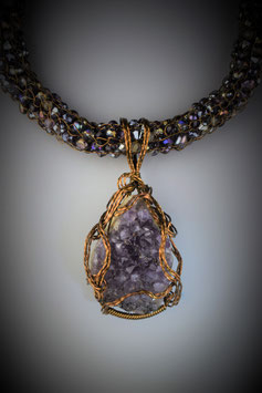Large Amethyst Pendant on a coordinating beaded French Knit Necklace