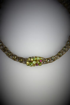"""Shades of Peridot with Pink Accents"" Beaded Single Cluster French Knit Style Short Rope Necklace"