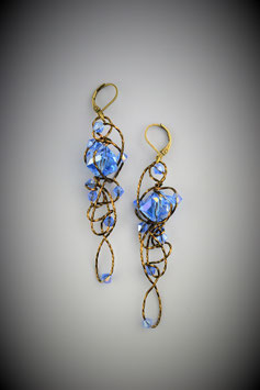 """Aurora Borealis Blue Insanty""Earrings"