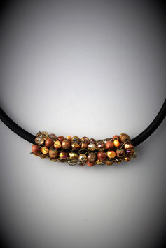 """""""Shades of Autumn"""" Beaded French Knit Slide on a Silk Threaded Cord"""