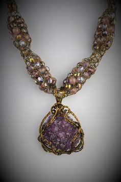 Amethyst Pendant on a Beaded French Knit Necklace