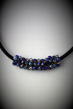 """Shades of Sapphire Blue"" Beaded Slide on a Silk Threaded Cord"