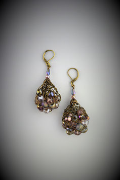 """Shades of Amethyst"" Beaded French Knit Teardrop Earrings"