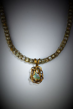 Ethiopian Opal Pendant on a Delicate Coordinating Beaded French Knit Necklace