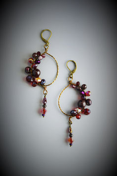 """Shades of Garnet"" Beaded Circle with Drop Earring"