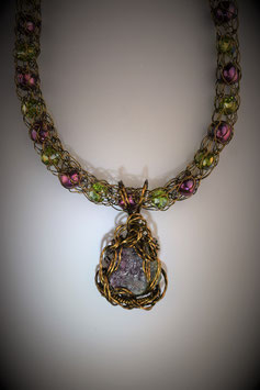 Natural Watermelon Tourmaline on a Beaded French Knit Necklace