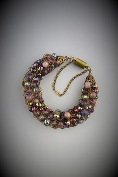 "Opulent ""Shades of Orchid"" Beaded French Knit Bracelet"
