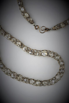 """""""Shades of Clear Crystal"""" Beaded French Knit Rope Necklace"""