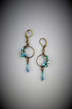 "Petite ""Shades of Turquois"" Beaded Circle with Drop Earring"