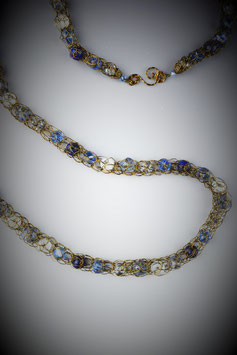 """""""Shades of Sapphire"""" Beaded French Knit Rope Necklace"""