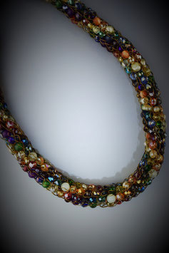 """Shades of the Rainbow"" Beaded French Knit Necklace"